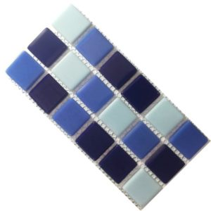 Crystal Glass Solids Aqua Mix Mosaic Tiles